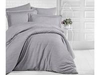 Комплект постельного белья Двуспальный Евро Страйп Сатин 200х220 CLASY Графит