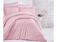 Комплект постельного белья Двуспальный Евро Страйп Сатин 200х220 CLASY Пудра