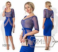 Облегающее строгое платье до колен с сеткой