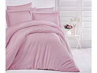 Комплект постельного белья Двуспальный Евро Страйп Сатин 200х220 CLASY Розовый