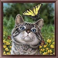 Алмазная вышивка 25х25 см, котик с бабочкой
