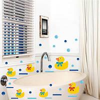 Виниловые наклейки стене ванной резиновая утка семьи и пузыри декор