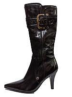 Женские черные классические демисезонные сапоги на каблуке 38р It-girl