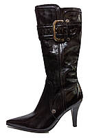 Женские черные классические демисезонные сапоги на каблуке 39р It-girl