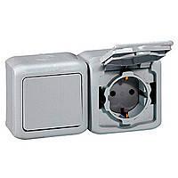 Выключатель + розетка с заземлением и защитными шторками 2К+З, IP44, серый, Legrand Quteo 782348