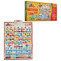 Музыкальный развивающий плакат  Букварик 7031ENG -укр/рус/англ. языки, плакат 62*45см, 7 режимов обучения