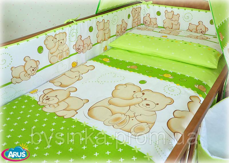 """Защита в кроватку (35 см) со съёмными чехлами (на молнии) на  все стороны детской кровати- """"Мишка обнимашка"""""""