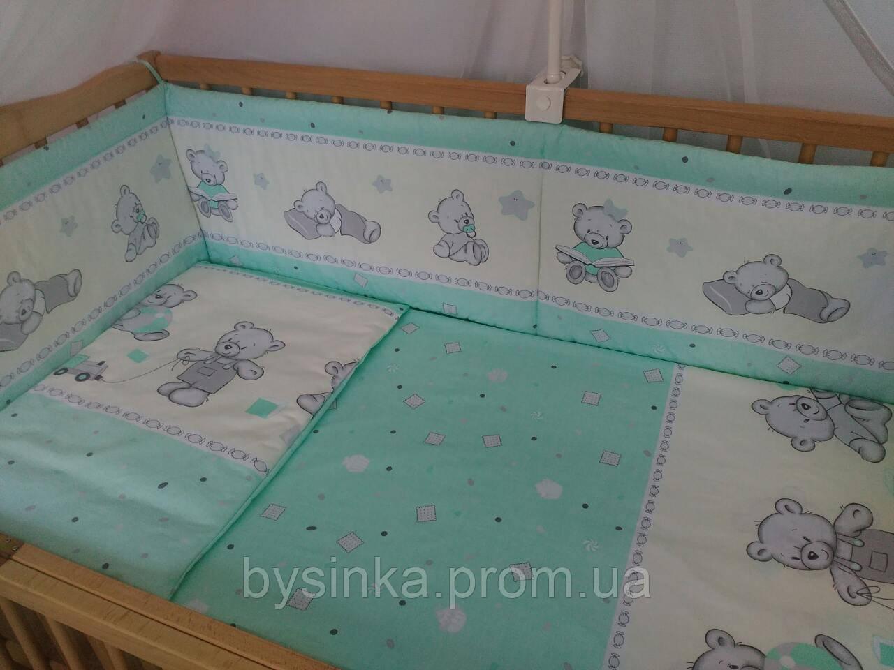 """Бортики (35 см) со съёмными чехлами (на молнии) на  все стороны детской кровати """"Мишки Игрушки"""""""