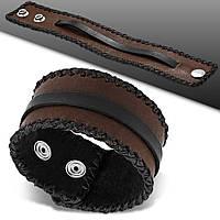 Кожаный браслет-напульсник на заклепках