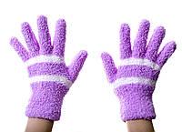 Теплые детские рукавички Фиолетовые 8-12 лет.