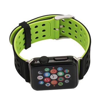 Двухсторонний ремешок с перфорацией Primo для Apple Watch 42mm / 44mm - Black&Green