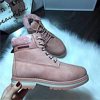 Зимние ботинки женские в стиле Timber, зима 2018