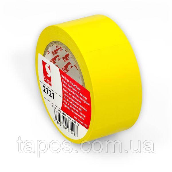 Розмічальна стрічка Scapa 2721 для маркування, кольорового кодування 50мм х 33м х0,16м жовтий колір