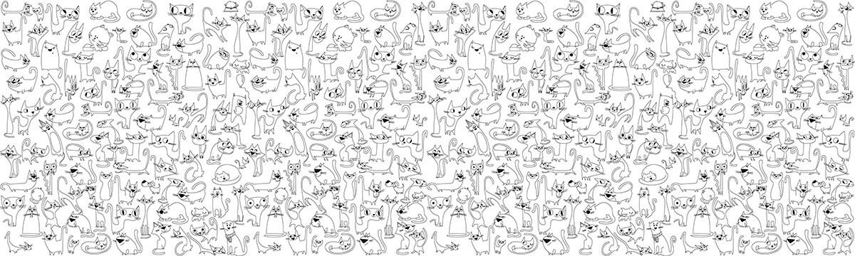 Обои-раскраски Веселые Коты  60*200 C-200001
