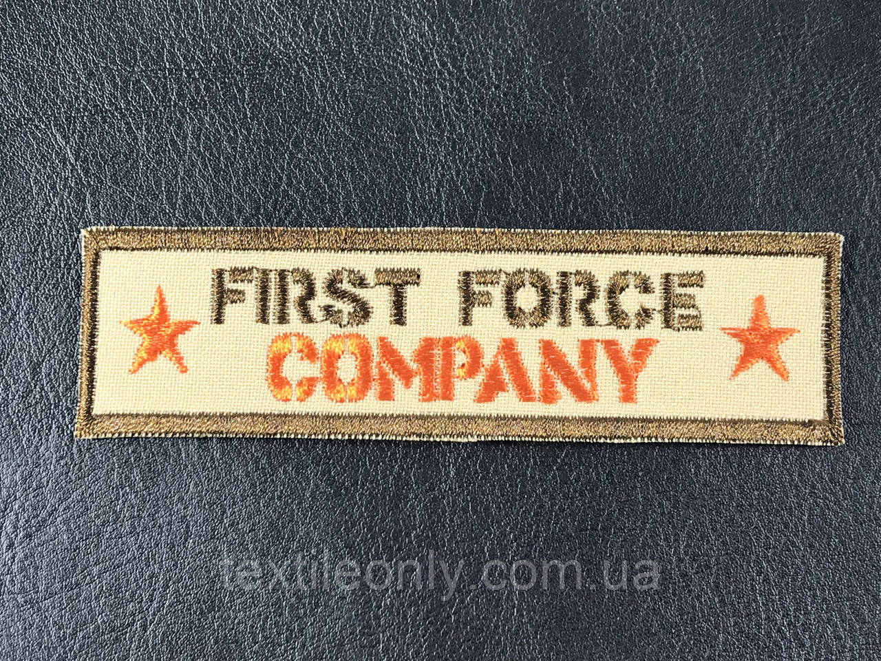 Нашивка First Force company планка, цвет бежевый  110х30 мм