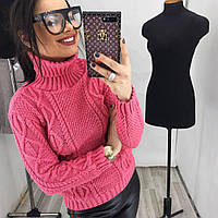 Женский вязаный свитер коса с горлом (4 цвета)
