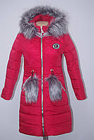 Удлиненное  зимнее пальто на девочку красное с мехом от производителя