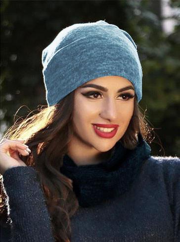 Женская шапка ангора менланж