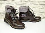 Коричневые кожаные демисезонные ботинки на шнуровке, фото 2