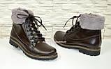 Коричневые кожаные демисезонные ботинки на шнуровке, фото 3