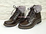 Коричневые кожаные демисезонные ботинки на шнуровке, фото 4