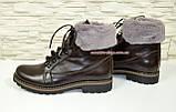 Коричневые кожаные демисезонные ботинки на шнуровке, фото 5