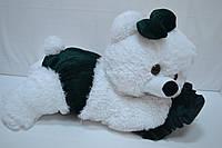 Плюшевая мишка Малышка 45 см белый с изумрудным