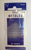 Иглы швейные Best Needles 3/9, в упаковке 20 шт. разного размера, фото 1