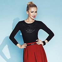 Трикотажная блуза из вискозы черного цвета с пайетками и длинным рукавом. Модель Liv Zaps, осень-зима 2015