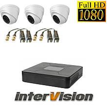 Комплект видеонаблюдения на 3 камеры для внутренней установки  Intervision 3GR-84USB/3