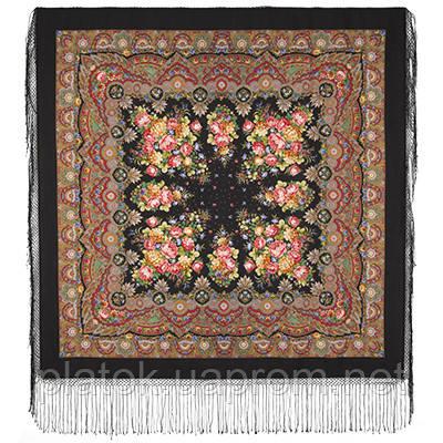 Славянка 1465-18, павлопосадский платок (шаль) из уплотненной шерсти с шелковой вязанной бахромой