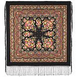 Славянка 1465-18, павлопосадский платок (шаль) из уплотненной шерсти с шелковой вязанной бахромой, фото 2