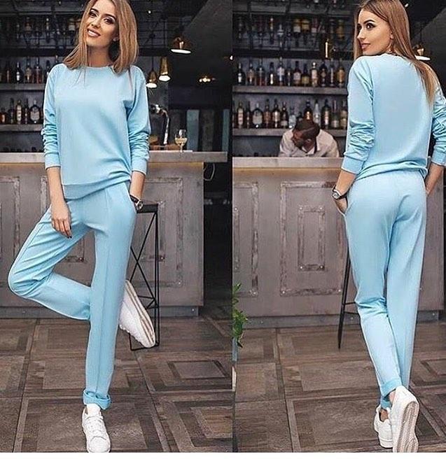 7aeb5008228b Модный женский спортивный костюм голубого цвета - Интернет-магазин одежды и  обуви от производителя