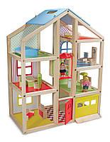 Детский кукольный домик с подъемником и мебелью