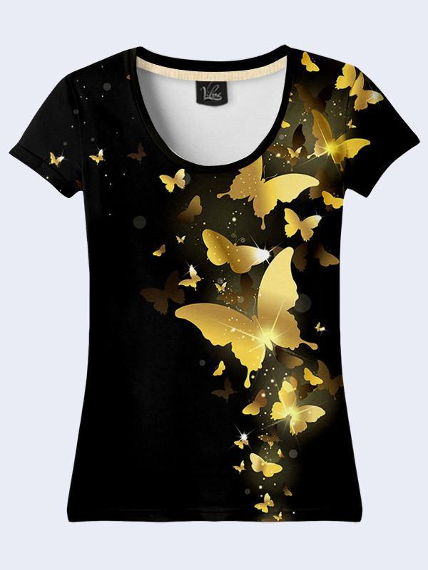 Женсая футболка Gold butterflies