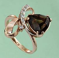 Золотий перстень  з кварцем та цирконом