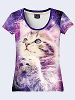 Женсая футболка Котик космос