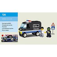 Конструктор Brick 126 Полиция 84 дет., машина, 2 человечка в коробке 45 x 90 x 195 мм
