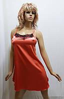 Женская атласная сорочка с французским кружевом 142