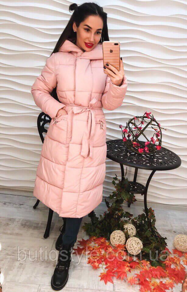 Стильное женское удлиненное пальто плащевка с капюшоном и поясом только розовое