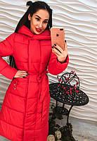 Стильное женское удлиненное пальто плащевка с капюшоном и поясом зеленое, красное, розовое
