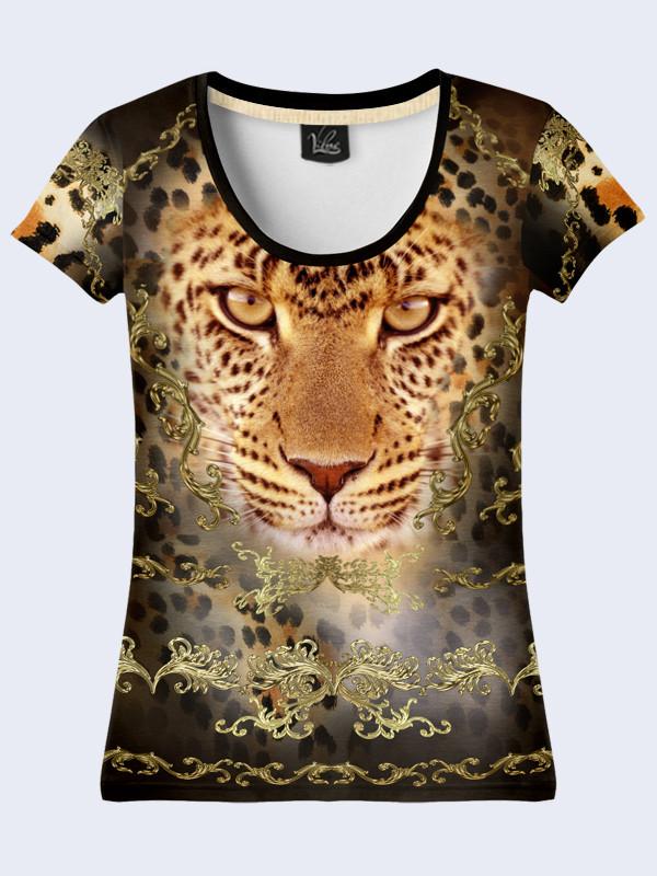 Женсая футболка Золотой леопард