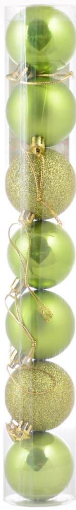 Шар новогодний елочный пластиковый d-5 cм 7 шт/уп, салатовый