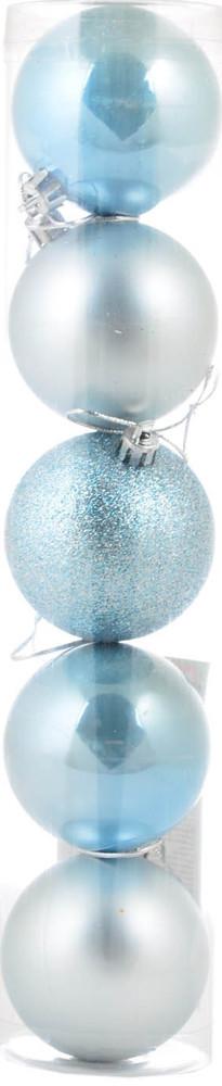 Шар новогодний елочный пластиковый d-6 cм 5 шт/уп, светло-голубой
