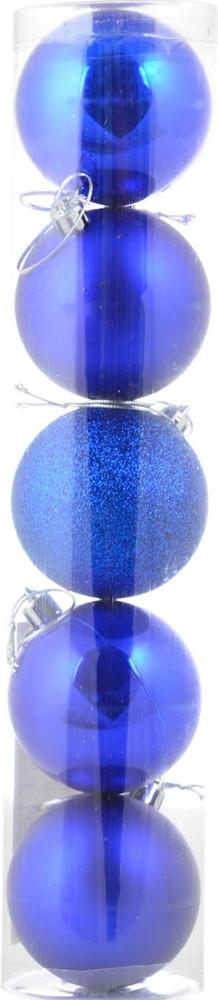 Шар новогодний елочный пластиковый d-6 cм 5 шт/уп, синий