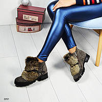 Зимние женские ботинки, декорированные натуральным мехом (кролик)