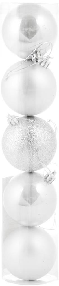 Шар новогодний елочный пластиковый d-6 cм 5 шт/уп, белый
