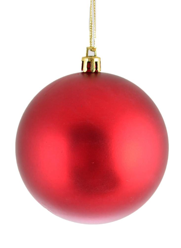 Шар новогодний елочный пластиковый d-8 см красный матовый