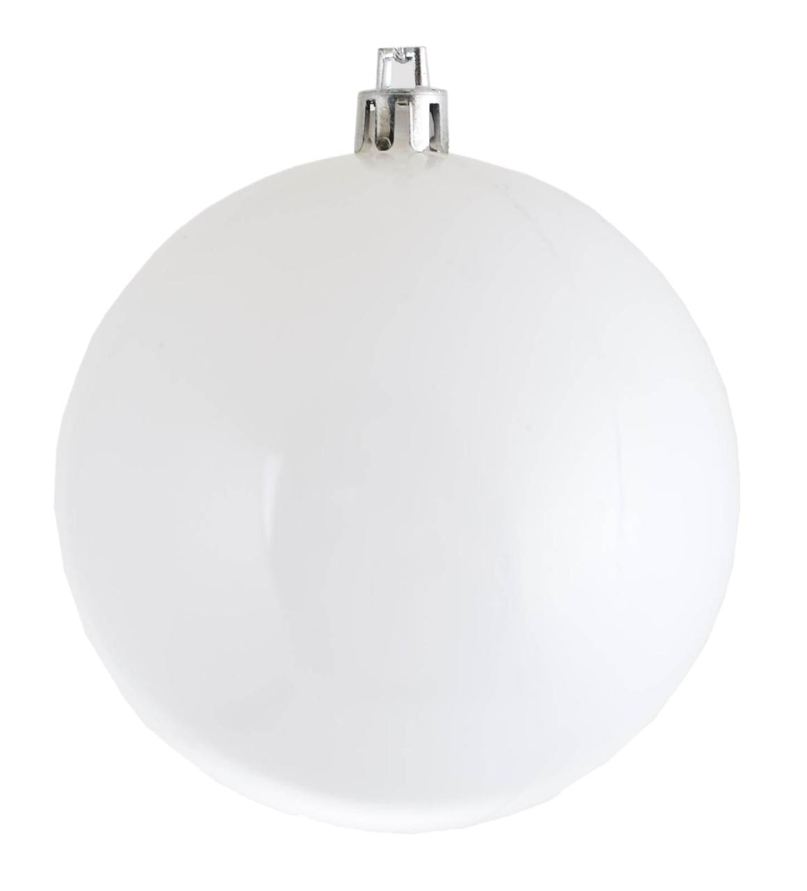 Шар новогодний елочный пластиковый d-8 см белый матовый