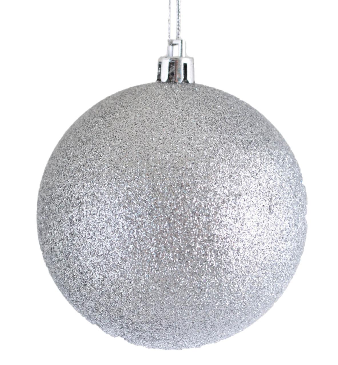 Шар новогодний елочный пластиковый d-10 см серебряный глитер